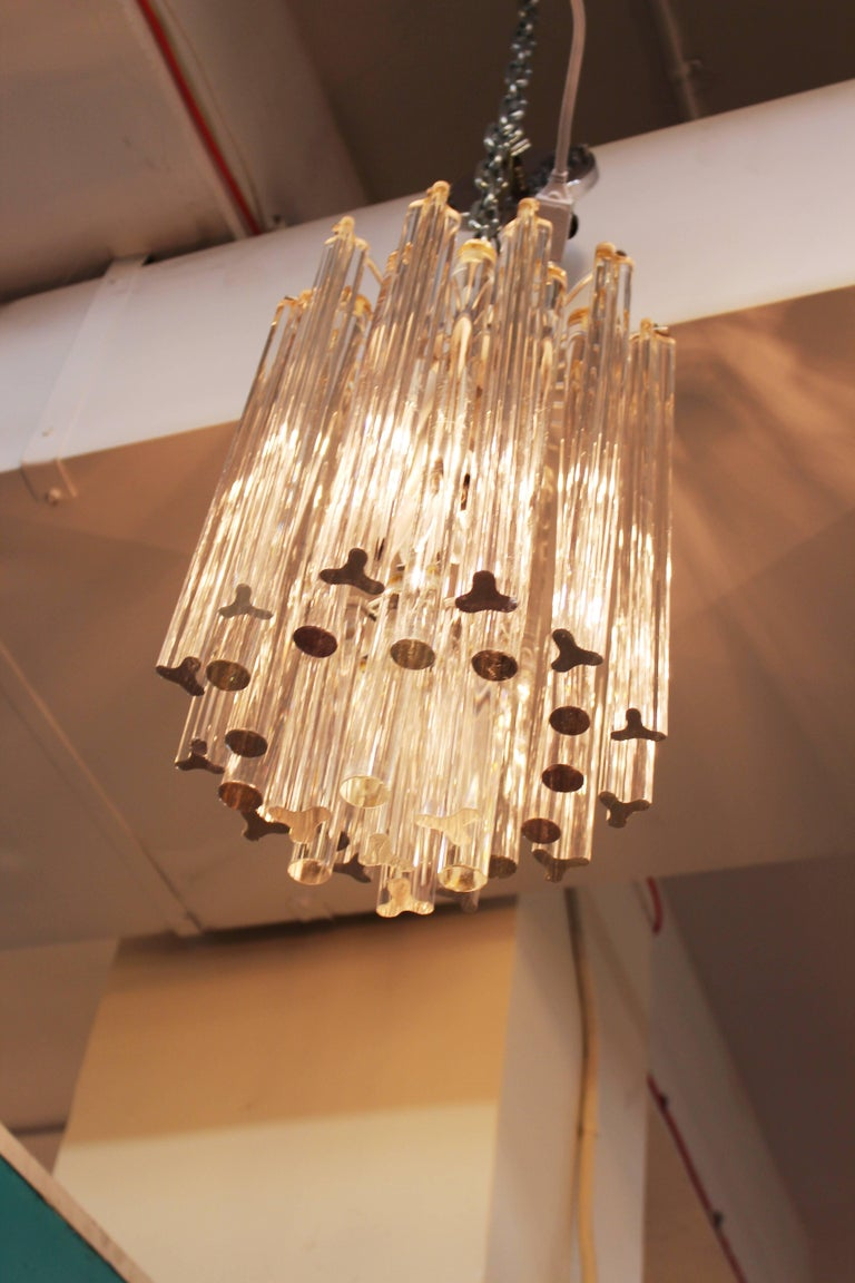 Midcentury Italian Venini Murano Chrome Chandelier with Cut and Round Crystals For Sale 3