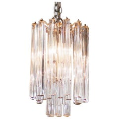 Midcentury Italian Venini Murano Chrome Chandelier with Cut and Round Crystals