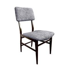 Midcentury Italian Vittorio Dassi Wood Frame Dining Chair in Steel Blue Velvet