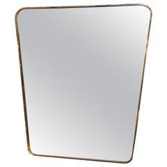 Midcentury Italian Wall Mirror Gio Ponti Style 1950s Side Brass Frame