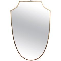 Midcentury Italian Wall Mirror with Brass Frame 'circa 1950s'