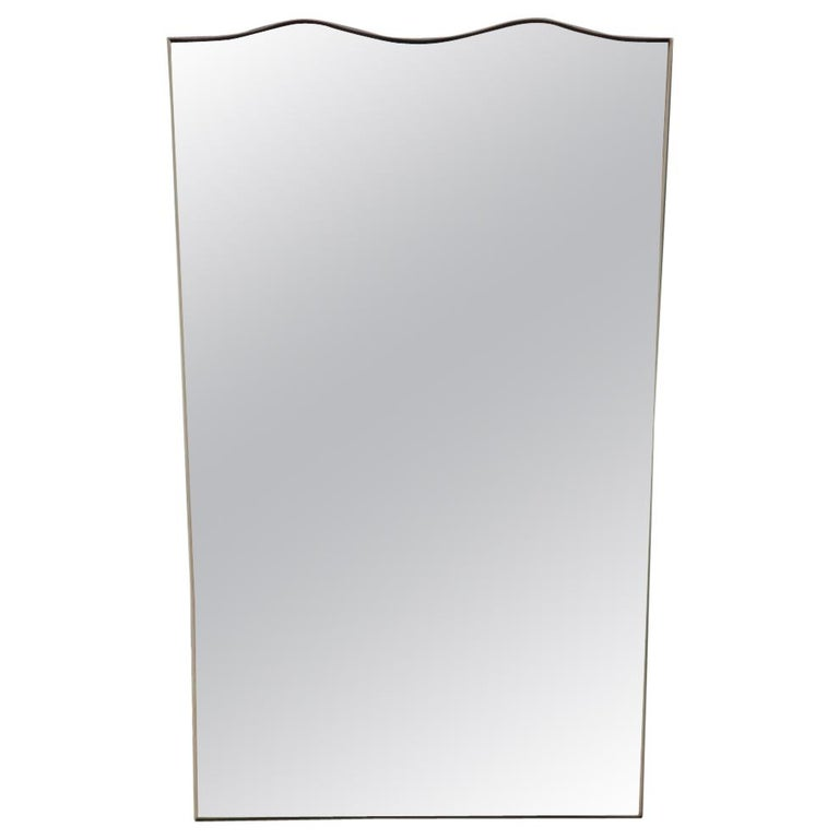 Midcentury Italian Wall Mirror with Corrugated Brass Frame Gold 1950 Horizontal For Sale
