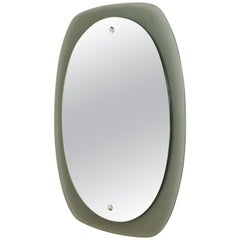 Midcentury Italian Wall Mirror with Grey Glass Frame, Attributed to Veca 1960s