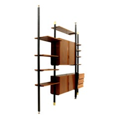 Midcentury Italian Wall Unit in Metal Brass and Wood, 1950s
