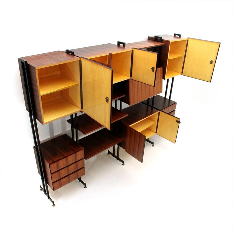 Mid-Century Modern Midcentury Italian Wall Unit Whit Bar Cabinet, 1960s For Sale