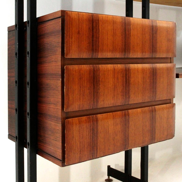 Metal Midcentury Italian Wall Unit Whit Bar Cabinet, 1960s For Sale