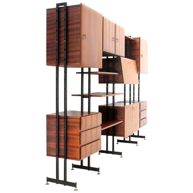 Midcentury Italian Wall Unit Whit Bar Cabinet, 1960s For Sale