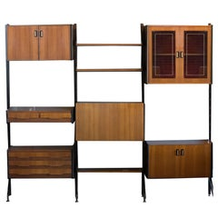 Midcentury Italian Wall Unit with Adjustable Teak Shelves and Cases