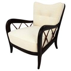 Midcentury Italian Walnut Armchair Style of Paolo Buffa, 50's