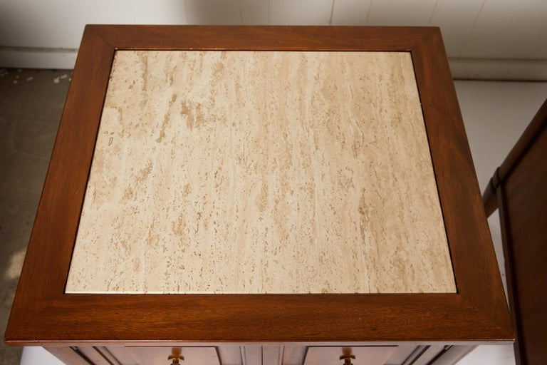 Midcentury Italian Walnut End Tables Inset with Travertine Tops 4