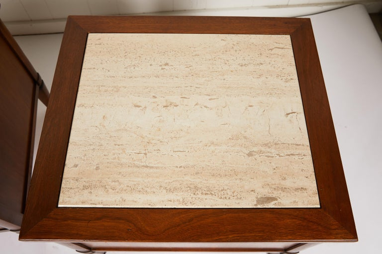 Midcentury Italian Walnut End Tables Inset with Travertine Tops 5