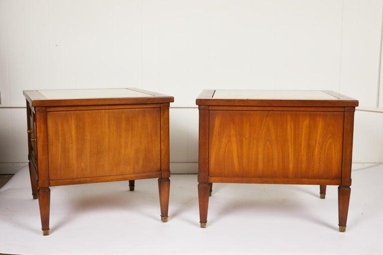 Mid-Century Modern Midcentury Italian Walnut End Tables Inset with Travertine Tops