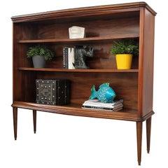 Midcentury Italian Walnut, Glass Top and Brass Three Shelves Open Bookcase