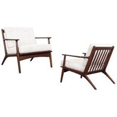 Midcentury Italian Walnut Lounge Chairs
