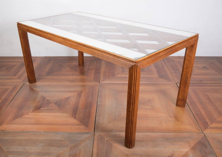 Midcentury Italian Walnut Wood Dining Table Attributed to Paolo Buffa, 1940s For Sale 2