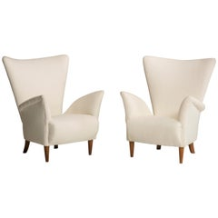 Midcentury Italian White Fabric Armchairs, Set of Two