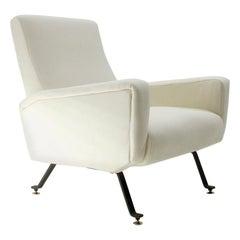 Midcentury Italian White Fabric Italian Armchair, 1950s