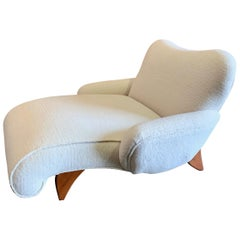 Midcentury Italian White Sheepskin Double Chaise Lounge