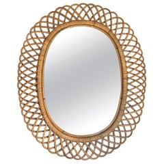 Midcentury Italian Wicker Mirror in the Style of Franco Albini, 1950s