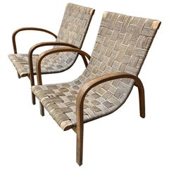 Midcentury Italian Woven Fabric Lounge Chairs, 1940s, Set of 2