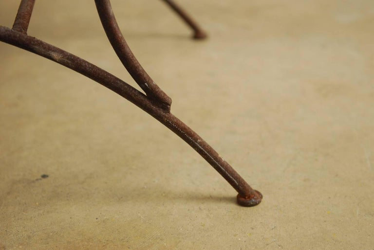 Midcentury Italian Wrought Iron Curule Bench For Sale 4