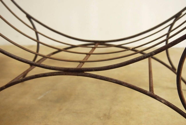 Midcentury Italian Wrought Iron Curule Bench For Sale 5