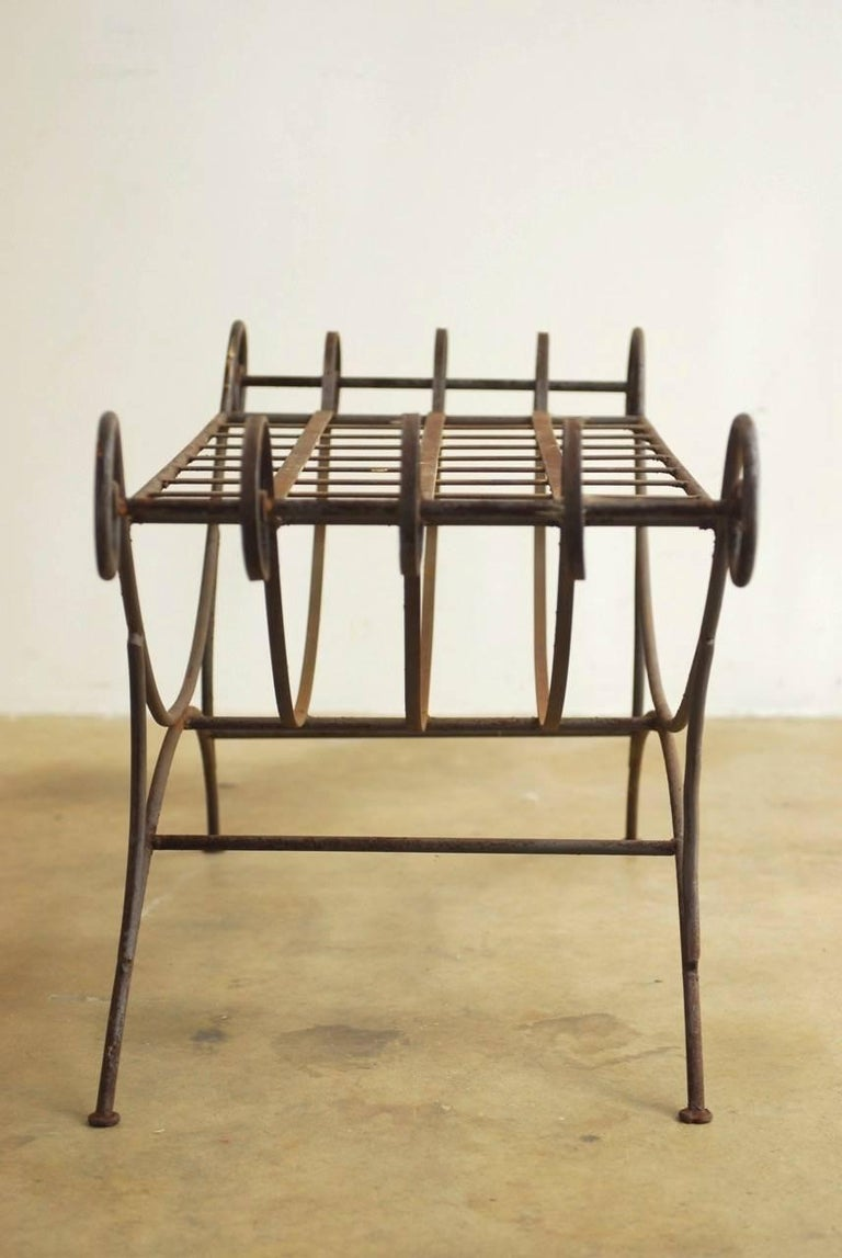 Midcentury Italian Wrought Iron Curule Bench For Sale 6