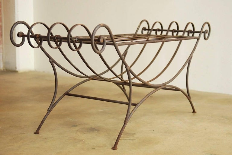 Midcentury Italian Wrought Iron Curule Bench For Sale 7