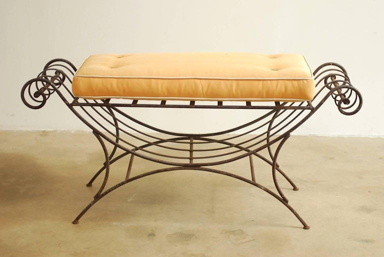 Hollywood Regency Midcentury Italian Wrought Iron Curule Bench For Sale