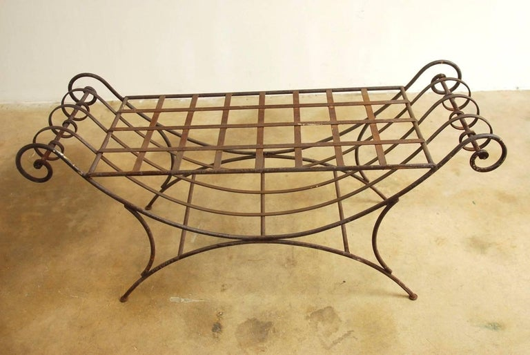 Midcentury Italian Wrought Iron Curule Bench In Good Condition For Sale In Oakland, CA