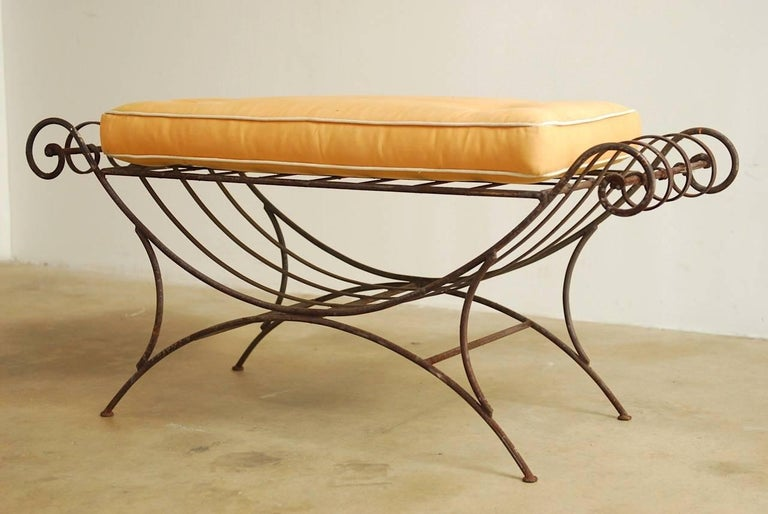 Fabric Midcentury Italian Wrought Iron Curule Bench For Sale