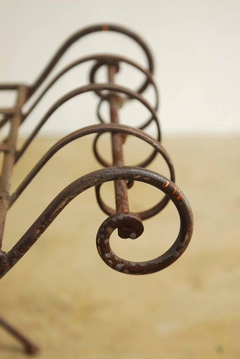 Midcentury Italian Wrought Iron Curule Bench For Sale 2