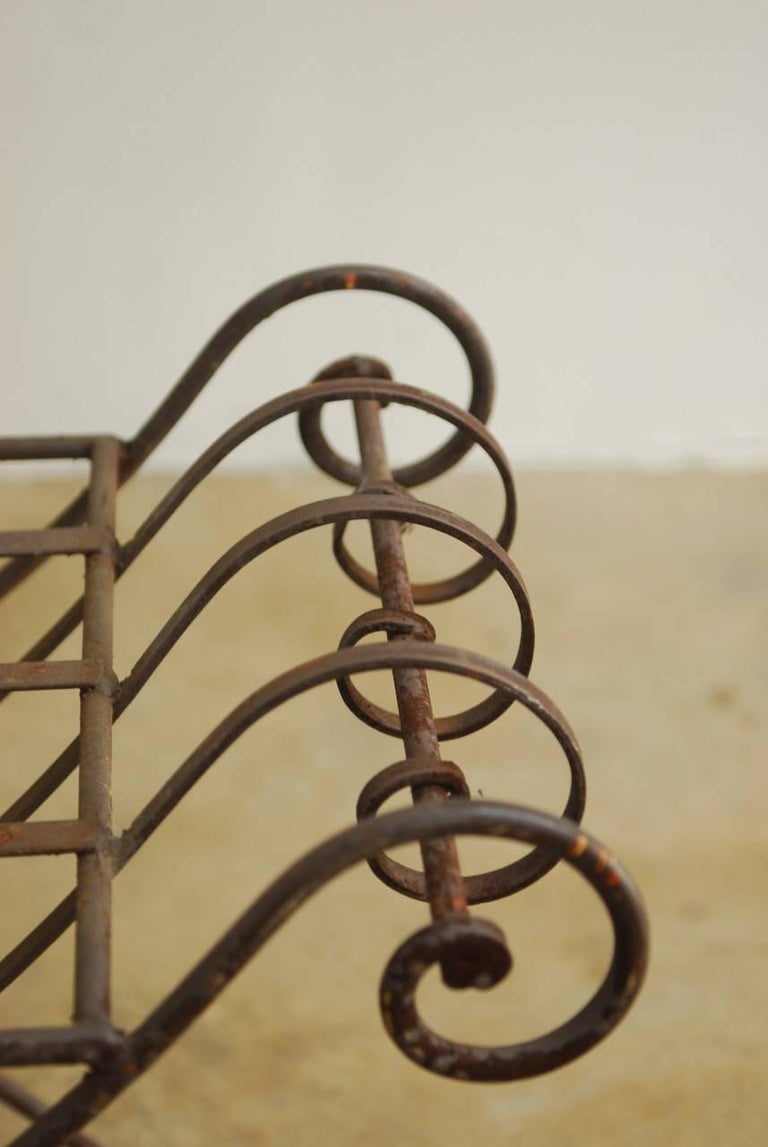 Midcentury Italian Wrought Iron Curule Bench For Sale 3