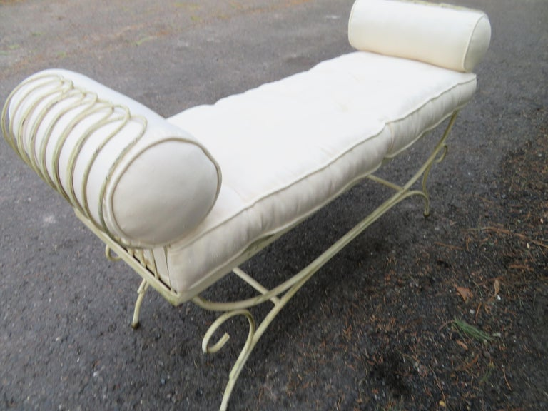 Midcentury Italian Wrought Iron Scroll Arm Bench For Sale 4