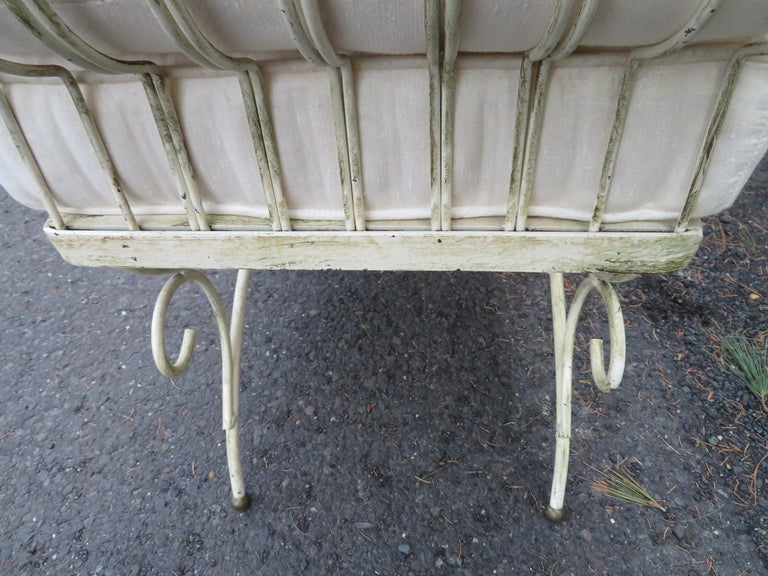 Midcentury Italian Wrought Iron Scroll Arm Bench For Sale 5