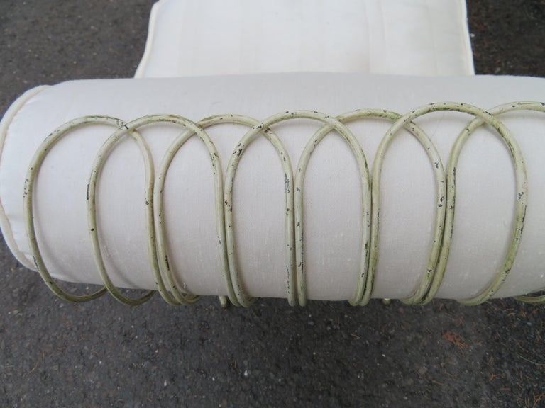 Midcentury Italian Wrought Iron Scroll Arm Bench For Sale 6