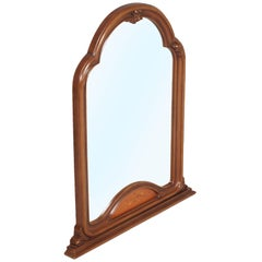 Midcentury Italy Gothic Art Deco Period, Wall Mirror in Carved and Inlay Walnut