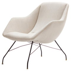 Midcentury Ivory Lounge Chair by Carlo Hauner and Martin Eisler, Brazil, 1960s