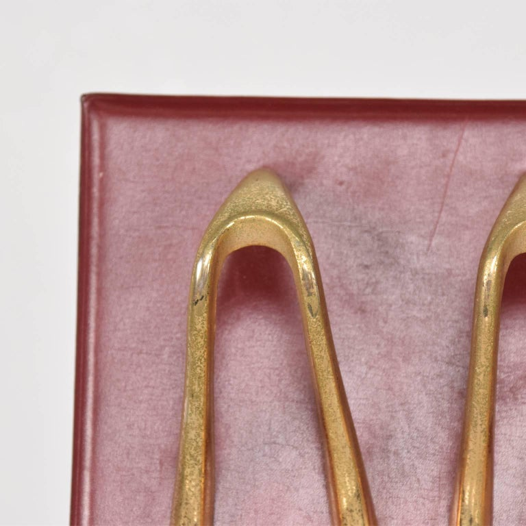 Mid-Century Modern Midcentury Jacques Adnet Style Leather and Brass Pipe Holder, France, 1960s For Sale