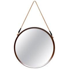 Midcentury Jacques Adnet Style Teak Mirror