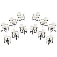 Midcentury Jacques Adnet White Bouclé and Leatherette Armchairs, Set of 6