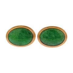 Midcentury Jade 14 Karat Gold Cufflinks