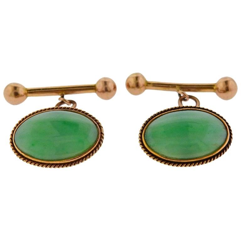 Midcentury Jade 18 Karat Gold Cufflinks For Sale