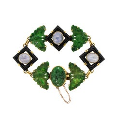 Midcentury Jade Onyx Sapphire 18 Karat Gold Link Bracelet