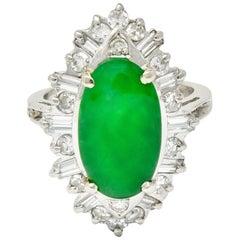 Midcentury Jadeite Jade 1.26 Carat Diamond Platinum Navette Cluster Ring GIA