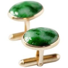 Midcentury Jadeite Jade and Gold Cufflinks