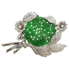 Midcentury Jadeite Jade Diamond Platinum Brooch Pendant