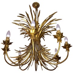 Midcentury Jansen Style French Golden Sheet Chandelier Eight Lights