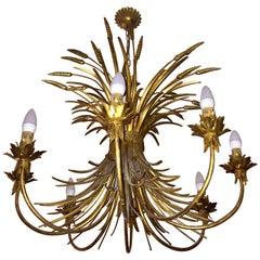Midcentury Jansen Style French Golden Sheet Chandelier Eight Lights
