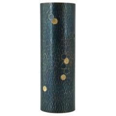 Midcentury Japanese Bronze Hammered Polka-Dotted Vase Meiji Nanbu Cabin Modern